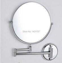 Мода хром увеличительное зеркало латунь материал складной выдвижной двусторонний ванной зеркало для макияжа
