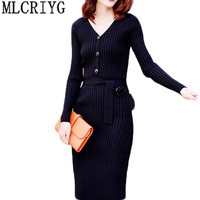 Autumn Dress Knitting 2018 New Women Sex V neck Sexy Knitted Dresses Long Sleeve Bodycon Pack Hip Party Dress Vestidos LX179