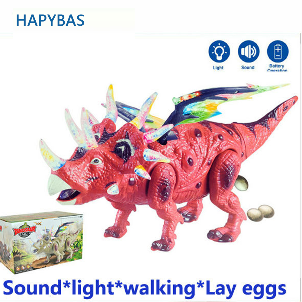 Dinosaur Toy Lay Eggs Children's Favourite Sounding Flashing Electronic Plastic Horned Dinosaur With Wings Baby Kids Toy