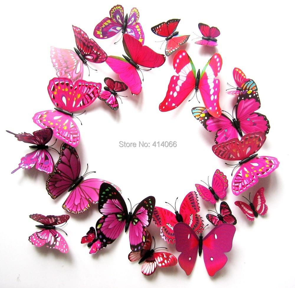 12 PCS DIY 3D Modern Butterfly Party Wedding Cake Topper Sticker Art ...