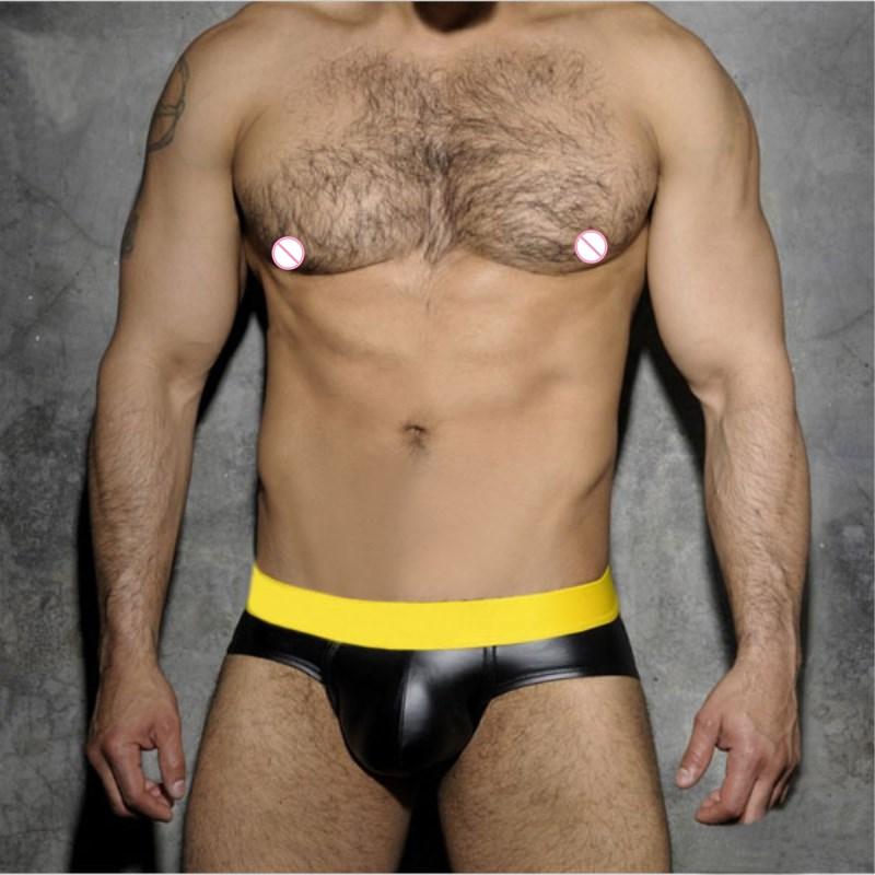 Men Underwear Briefs Mens Cortex Leather Underpants Cueca Masculina U Pouch Male Panties Mens Briefs Gay Underwear Ropa Pants