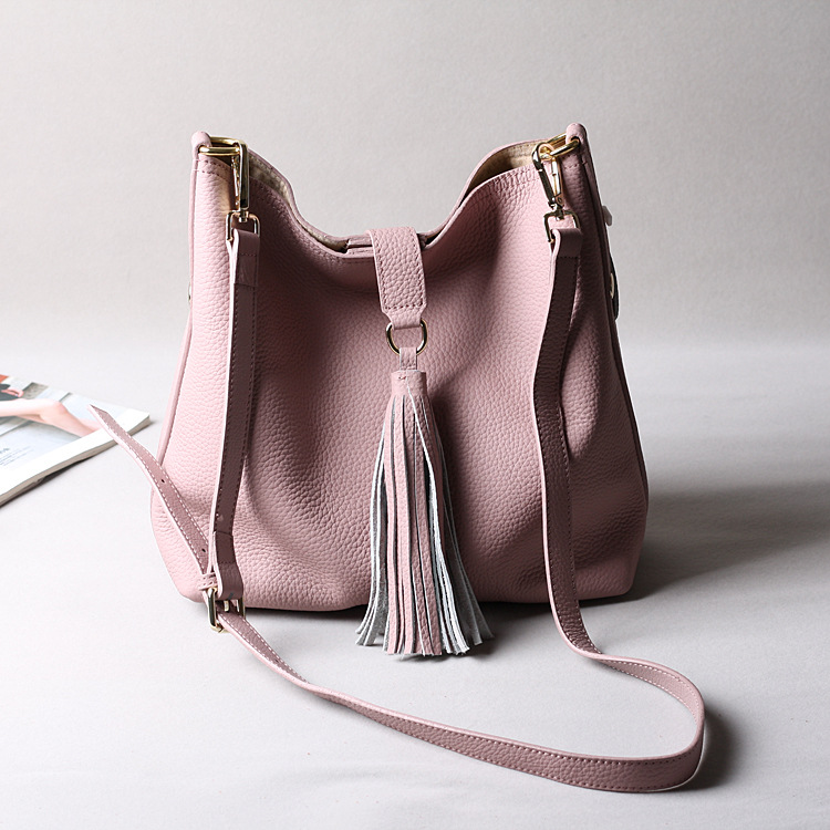 ФОТО Textured leather women shoulder bag, with matched Small Zipped fabric pouch , women bucket bag