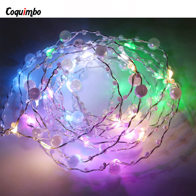 40LEDs String Lights USB LED Pearl String Light For Xmas Garland Party Wedding Decoration Christmas Light Flasher Fairy Lights