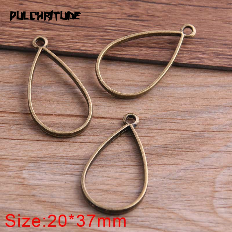 10pcs 20*37mm Three Color Alloy Jewelry Accessories Water Drop Charm Hollow Glue Blank Pendant Tray Bezel 12C40 2