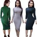 2016 Long Sleeve Turtleneck Midi Bodycon Fall Dress Warm Stretchy Party Dresses Plus Size Women Clothing Sexy Club Bandage Dress