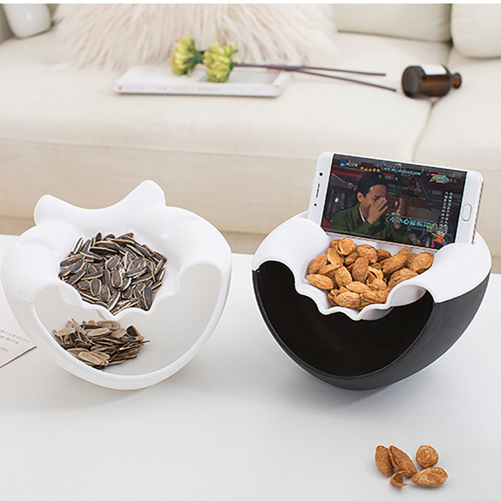 Plastic Box For Food Round Double Layers Boxes Circular Candy Box Seeds Nuts Storage Bowl Dry Fruit Mutifuction Organizer F117