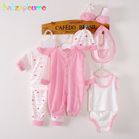 8PCS 0 3Months Spring Summer Newborn Baby Girls Boys Clothes Cotton Striped Rompers T Shirt Pants