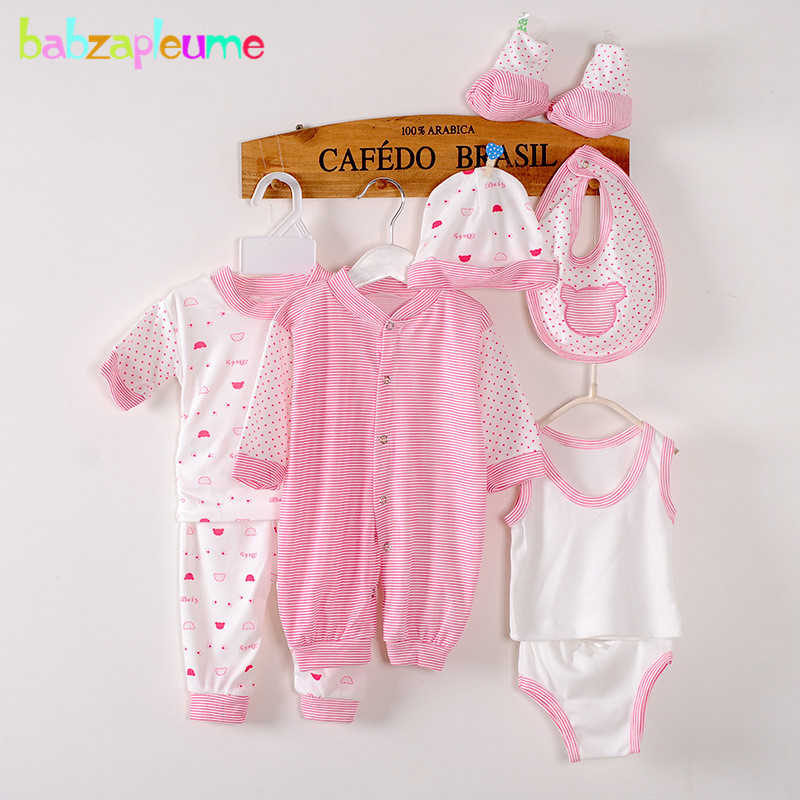 8PCS/0-3Months/Spring Summer Newborn Baby Girls Boys Clothes Cotton Striped Rompers+T-shirt+Pants+Hat Infant Clothing Set BC1002