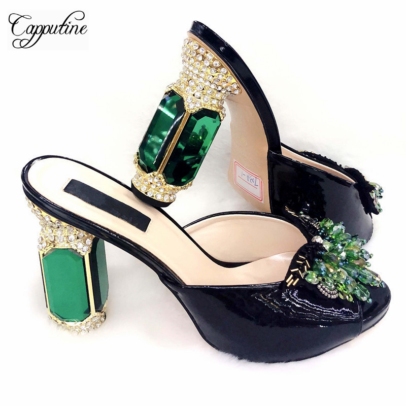 Capputine 2019 Newest Italian PU With Crystal Woman Shoes Fashion Pretty Pumps 12CM Shoes For Evening Dress Large Size 38-42Capputine 2019 Newest Italian PU With Crystal Woman Shoes Fashion Pretty Pumps 12CM Shoes For Evening Dress Large Size 38-42