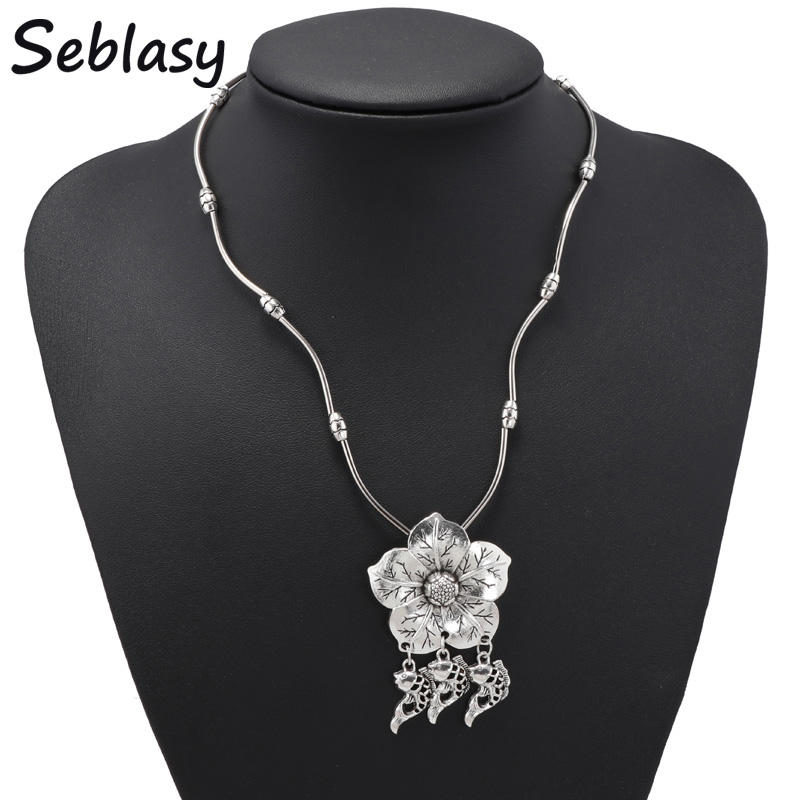 Seblasy Vintage Carved Leaves Bohemian Big Statement Flower Necklaces & Pendants Fishes Tassel Necklaces for Women Jewelry
