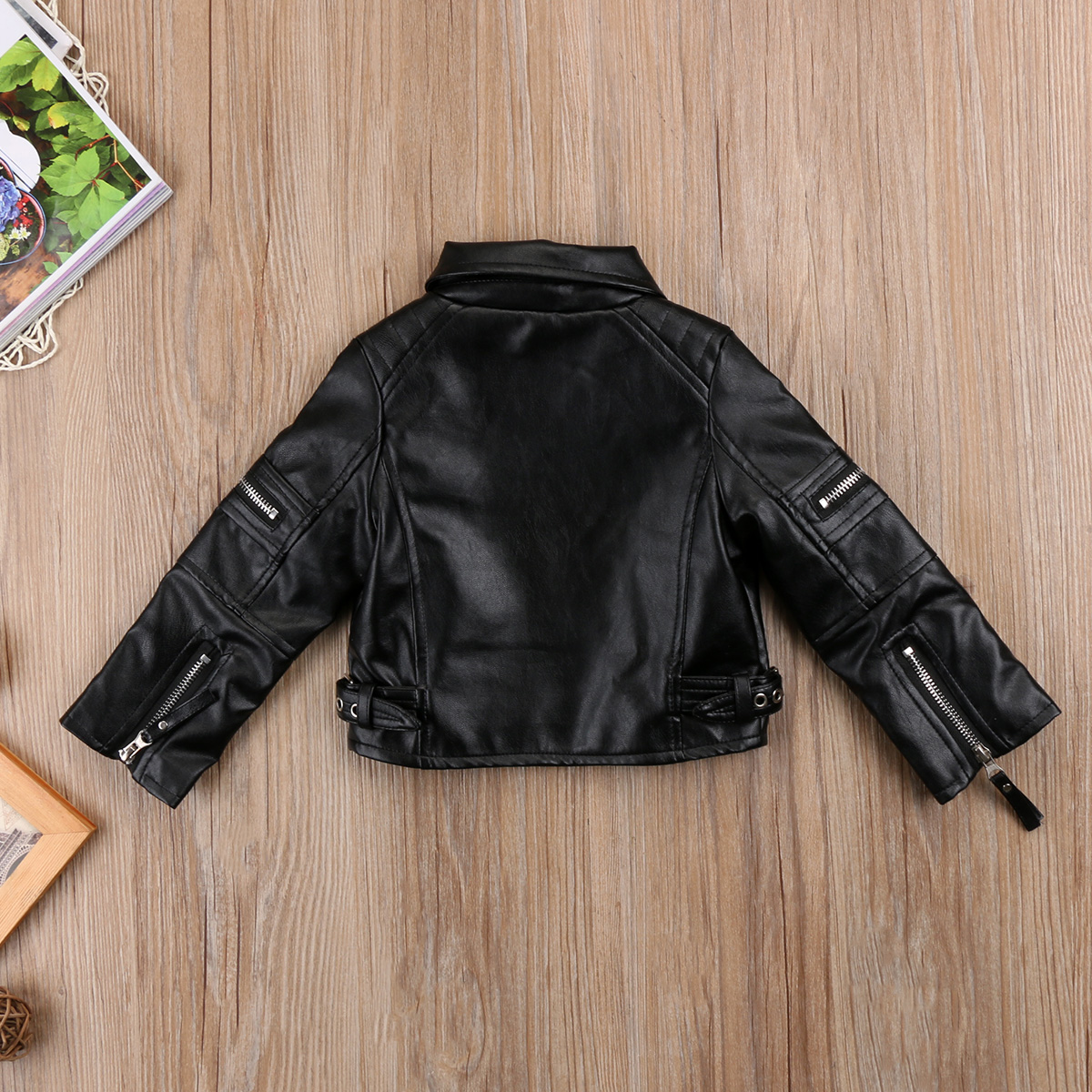 389c9685c Toddler Kids Baby Girl Fashion Motorcycle PU Leather Jacket Biker ...