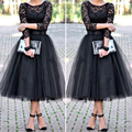 Envío Libre Negro Lace Short Prom Vestidos de Manga Larga de Encaje de Tul Una Línea de Vestidos de Partido de Tarde Barato Cortos Vestidos de Fiesta