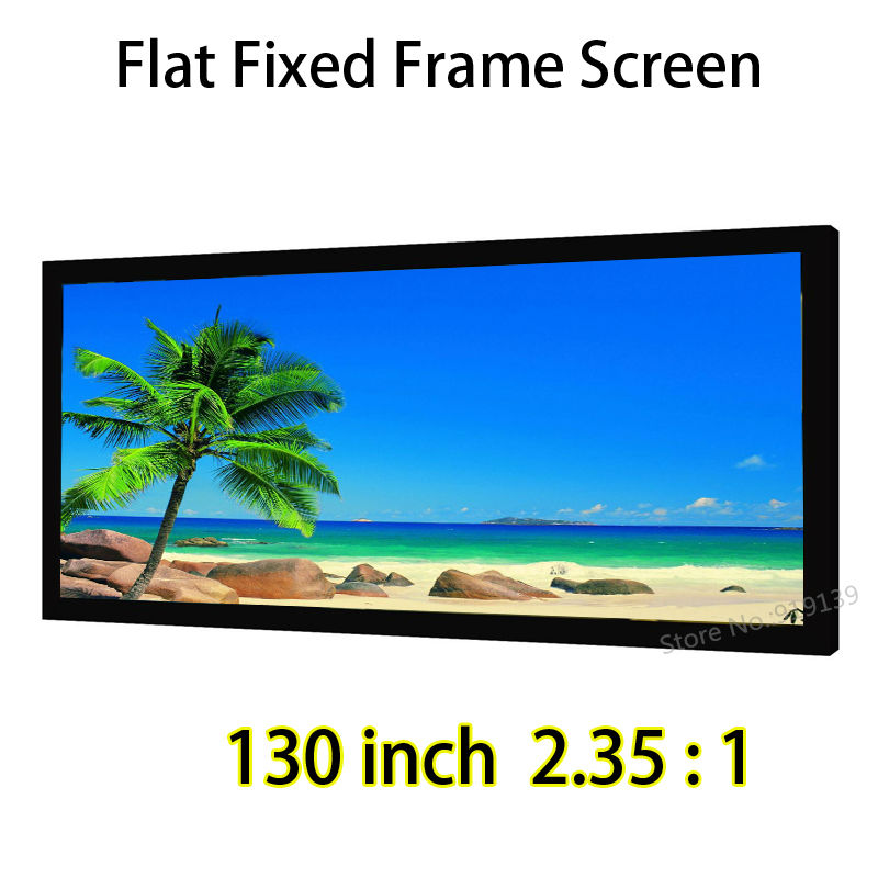 130 Diagonal Cinemascope 2.35:1 Flat Fixed Frame Projection Screen 1.2 Gain Quality Picture For Home Cinema Theater low price 92 inch flat fixed projector screen diy 4 black velevt frames 16 9 format projection for cinema theater office room
