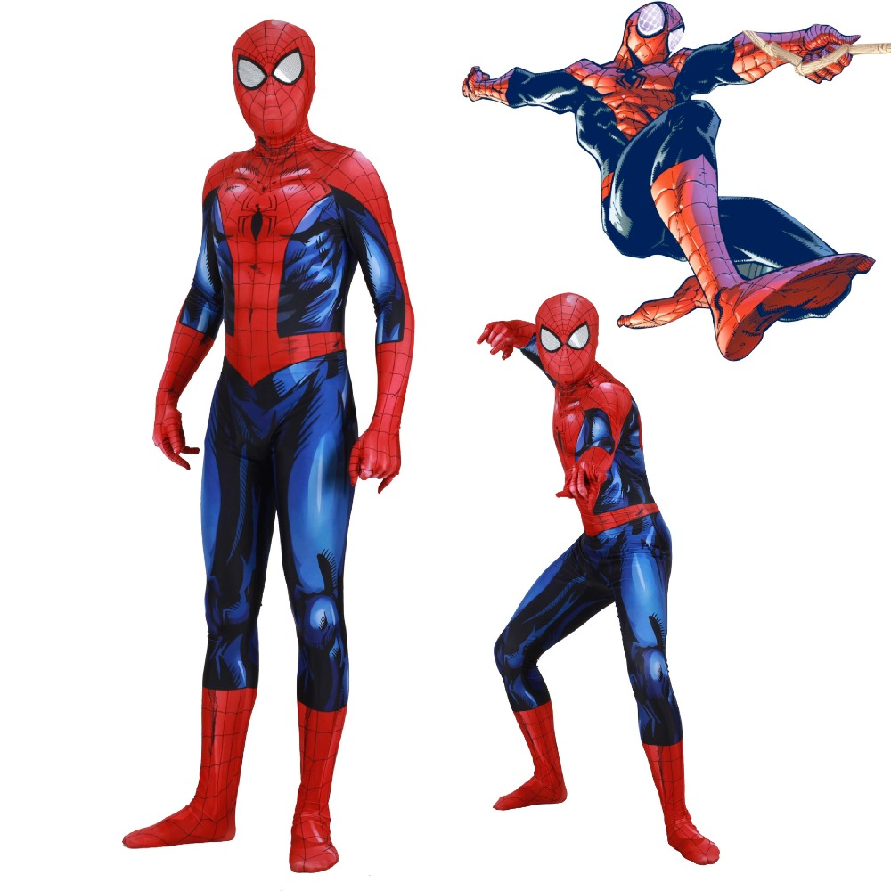 Free shipping New Adult Men Marvel Superior Spiderman Cosplay Costume Zentai Spider Man Superhero Bodysuit Suit Jumpsuit JQ-1337