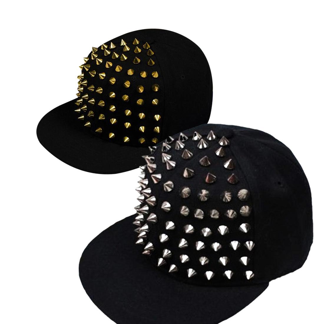 Snapback Cap Unisex Punk Rock Hip Hop Silver Rivet Stud Spike Spiky Hat Adjustable Adult Cap Women&Men Baseball Cap