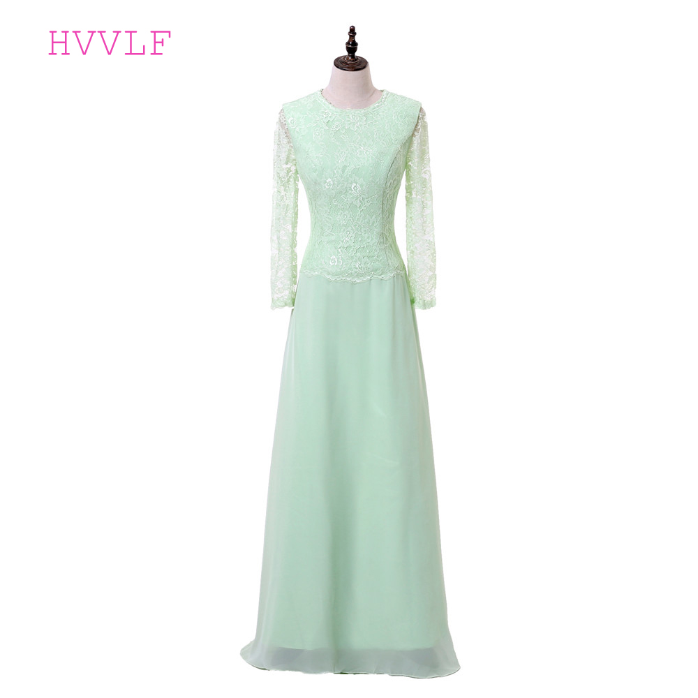 Mint Green 2019 Mother Of The Bride Dresses A-line Long Sleeves Chiffon Lace Groom Evening Dress Long Mother Dresses For Wedding