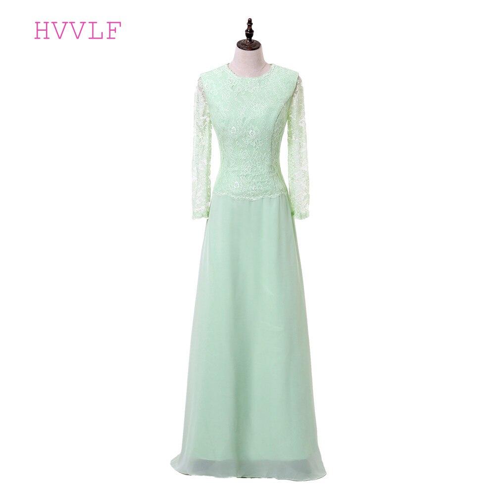 Vert menthe 2019 mère de la mariée robes a-ligne manches longues en mousseline de soie dentelle marié robe de soirée longue mère robes pour mariage