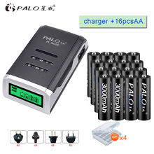 PALO 16pcs AA 3000mah NI-MH 1.2V rechargeable batteries aa battery with LCD display charger