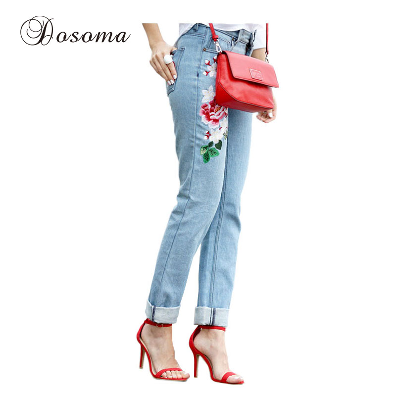 Plus Size Flower Embroidery Jeans Woman 2017 Spring Mid Waist Straight Jeans Female Floral Embroidered Casual Denim Pants flower embroidery jeans female blue casual pants capris 2017 spring summer pockets straight jeans women bottom a46