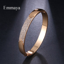 Emmaya Simple Plain Design Wire Bangle Pave Clear Crystal With Gold Wire Bangle Wedding Party Gift(China)
