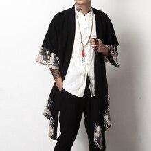 Японское кимоно кардиган для мужчин haori yukata мужской самурайский костюм одежда кимоно куртка мужская кимоно рубашка yukata haori KK001