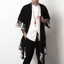Kimono japonês cardigan masculino haori yukata samurai traje vestuário quimono jaqueta dos homens camisa quimono yukata haori kk001