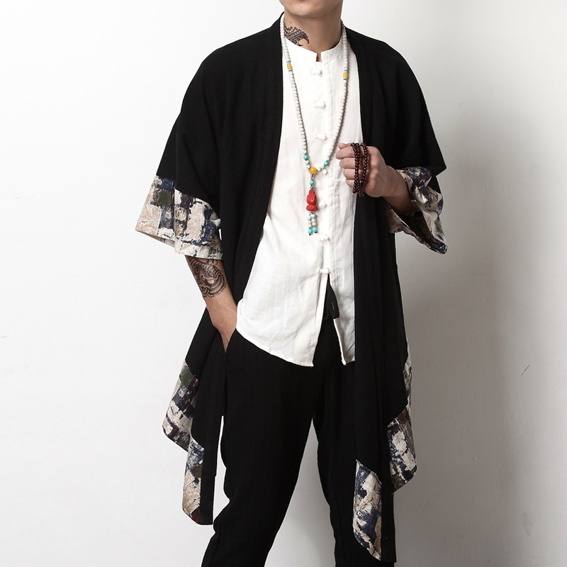 Japanese kimono cardigan men haori yukata male samurai costume clothing kimono jacket mens kimono shirt yukata haori KK001(China)