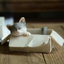 Creative Animal resin cat miniature Figurine Crafts teraryum fairy garden miniatures Mini home wedding decoration accessories