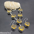 hermosa jewelry The mysterious 925 sterling silver retro style drop shape yellow crystal necklace Earring Sets HF196