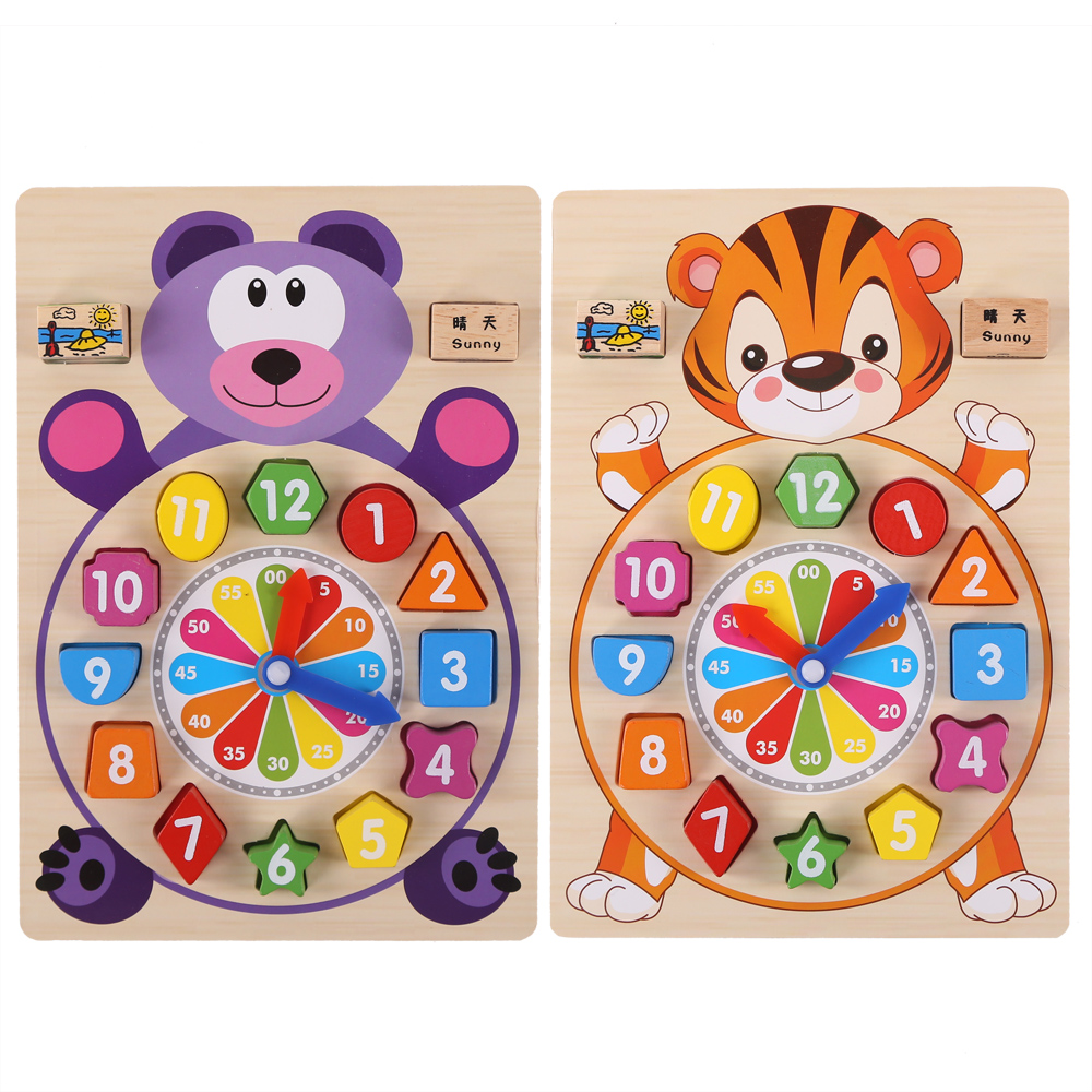 Baby Toys wooden clock  building chopping  blocks motessori educational children table game for kid toy gifts new original kyocera fuser 302j193050 fk 350 e for fs 3920dn 4020dn 3040mfp 3140mfp