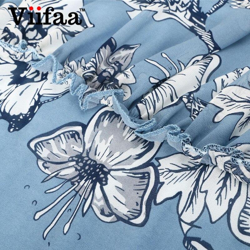 d8fc0cb25ef909 Viifaa Floral Print Chiffon Dress Lined Long Sleeve Flowers Dress Women  Light Blue Ruffle Autumn Shirt Dresses-in Dresses from Women's Clothing on  ...