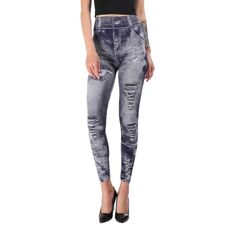 Work Out Leggings Gray Retro Demin Legging Woman Leggings Trendy Holes Design Super Deal Jeans Type Legging Jeans