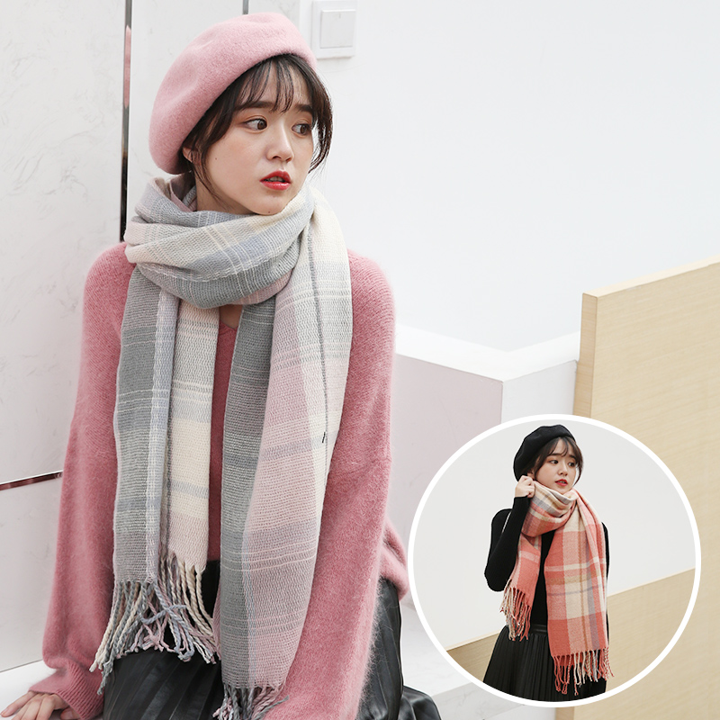 Classic Plaid Winter Scarf For Women Beret Hats and Scarves Set Women Winter Cashmere Tassel Shawl Scarf Hat Pashmina For Ladies in Women 39 s Scarves from Apparel Accessories
