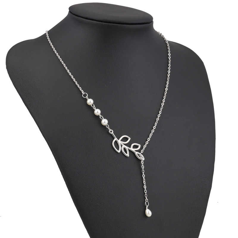 Tenande gorąca sprzedaż moda kolor srebrny wklęsły liść imitacja perły naszyjniki dla kobiet prezent na walentynki