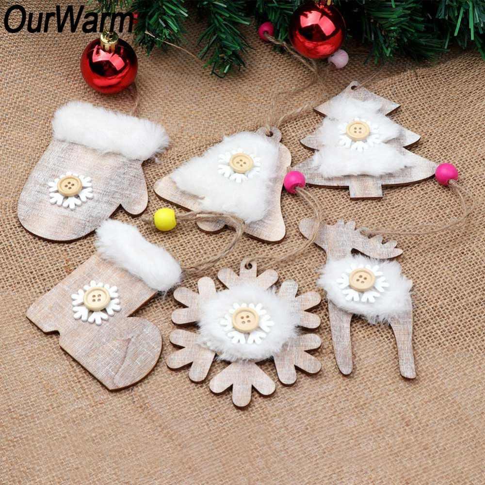 OurWarm 6 Peças De Madeira Enfeites De Natal Sino Cervos Do Floco De Neve Do Ornamento de Suspensão do Presente Do Ano Novo da Pele Do Falso Rústico Decorações de Natal
