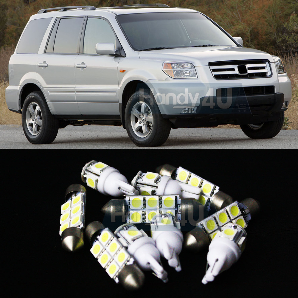 Free Shipping!! #14 13x White LED Lights Interior Package Kit For Pilot 2006-2008