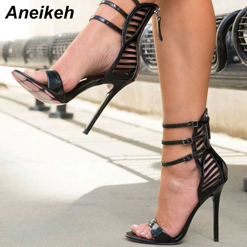 c9aa51e6bdd Aneikeh High Quality Patent Leather High Heel Sandal 2019 Summer Sexy Open  Toe Thin Heels Shoes