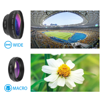 2 in 1 Lens 0.45X Wide Angle+12.5X Macro Lens Professional HD Phone Camera Lens For iPhone 8 7 6S Plus Xiaomi Samsung LG 4