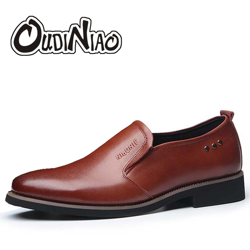OUDINIAO Mens Shoes Casual Spring Round Toe Slip On Shoes Men Loafers Business Split Leather Men Shoes Luxury 2018 Black Brown fashion young man red casual shoes men luxury high top toe mens falts british trend flat heel men s loafers shoes