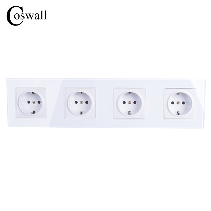 COSWALL Wall Crystal Glass Panel 4 Way Power Socket Plug Grounded, 16A EU Standard Electrical Quadruple Outlet 344mm * 86mm coswall high quality wall power 5 way socket plug grounded 16a eu standard electrical quintuple outlet 430 mm 86 mm