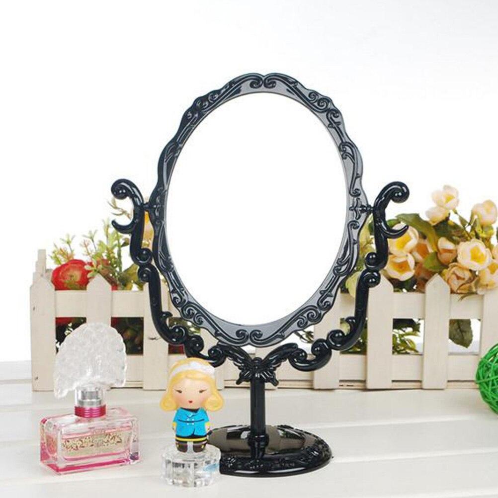 Spiegel 1 Pc Swivel Tabletop Spiegel Kunststoff Rahmen Vintage Geprägte Make-up Dressing Spiegel Für Schlafzimmer Bad Dressing Tisch Schminkspiegel