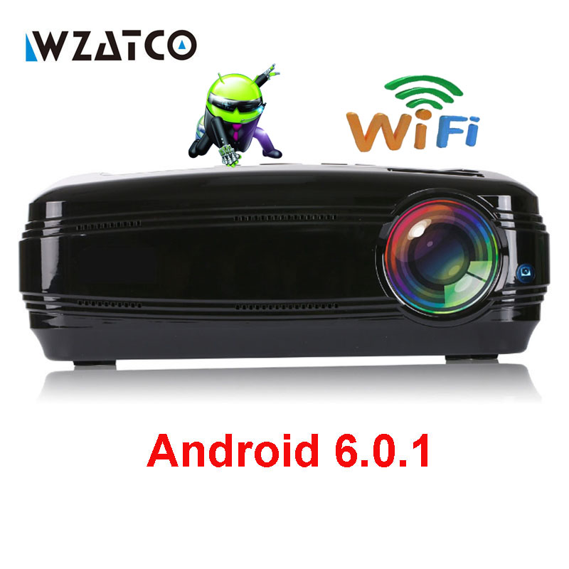 WZATCO CTL60 Android 6 0 WIFI Portable Home Theater LED 3D TV Projector Full HD 1080P