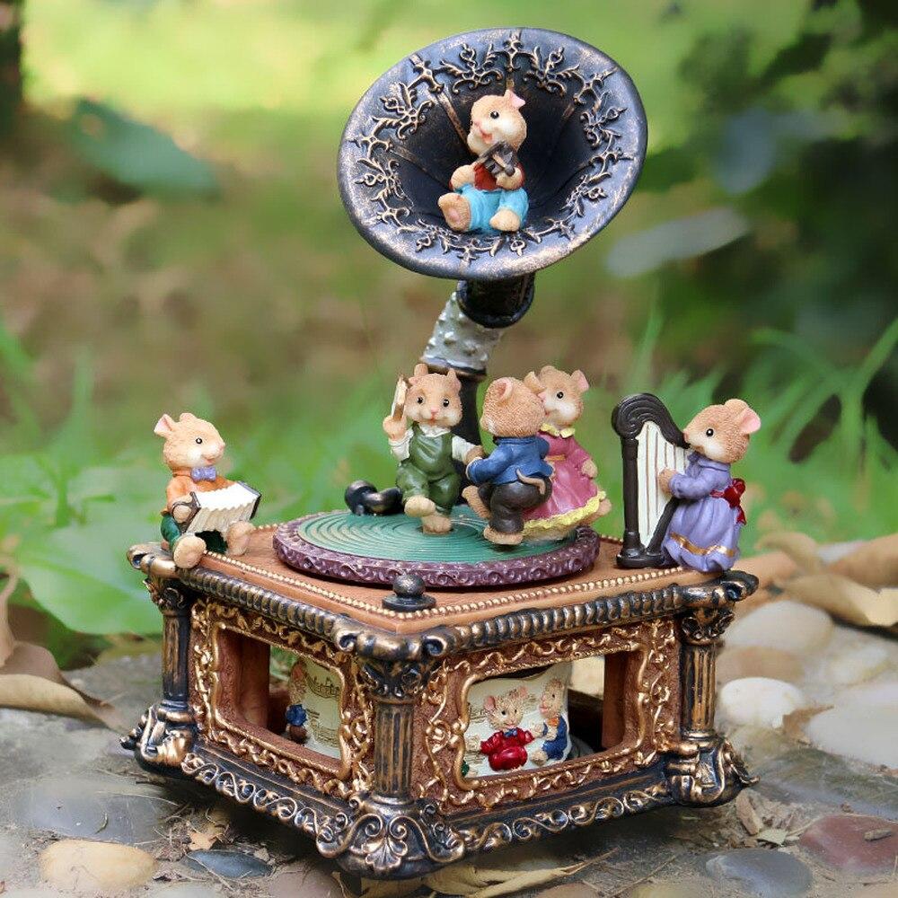 Classique rétro corne phonographe boîte à musique noël souris boîte à musique cadeau décoration ornements LM01101022