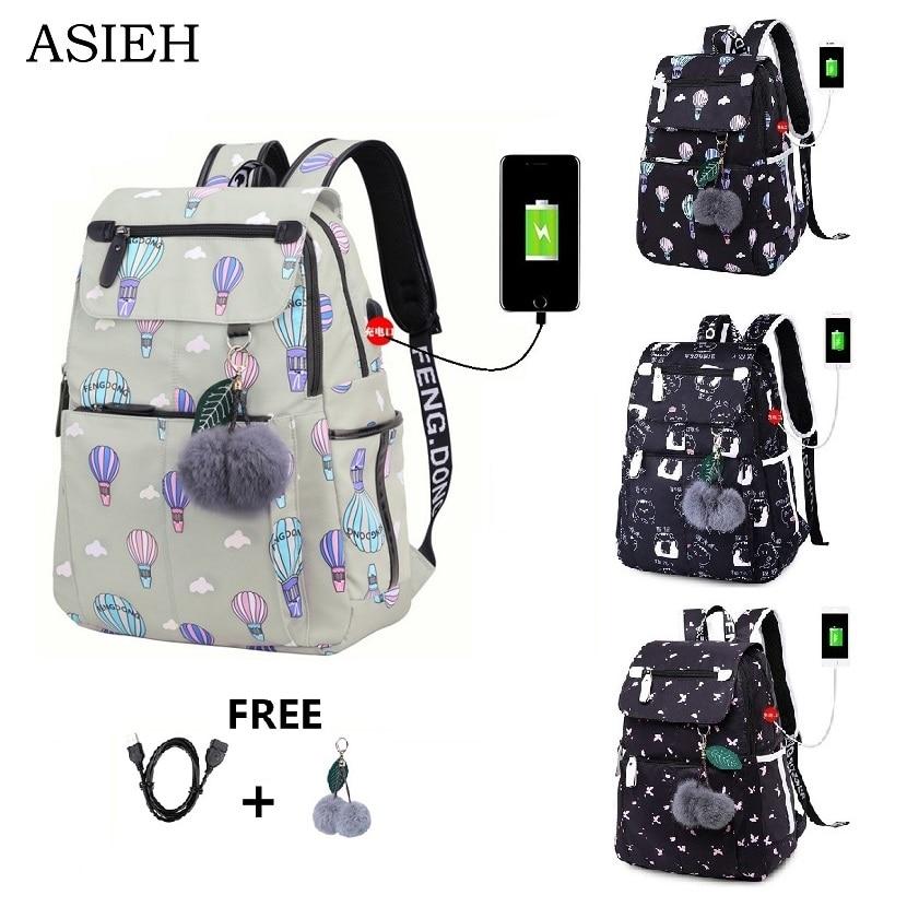 Teenage Backpacks female fashion school usb school bags for girls backpack pack for women laptop backpack cartoon backpack women