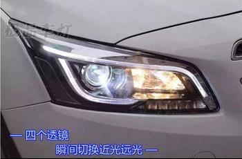 2pcs Bumper lamp for chevrolet Cruze Headlight 2015 2016year DRL Bi Xenon Lens HI LO Parking HID Fog Lamp cruze Taillight