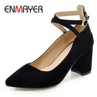 ENMAYER High Heels Pumps Shoes Cross tied Classic Black Shoe Plus Size 34 43 Pointed Toe Ankle Strap Pumps Party Wedding Shoe