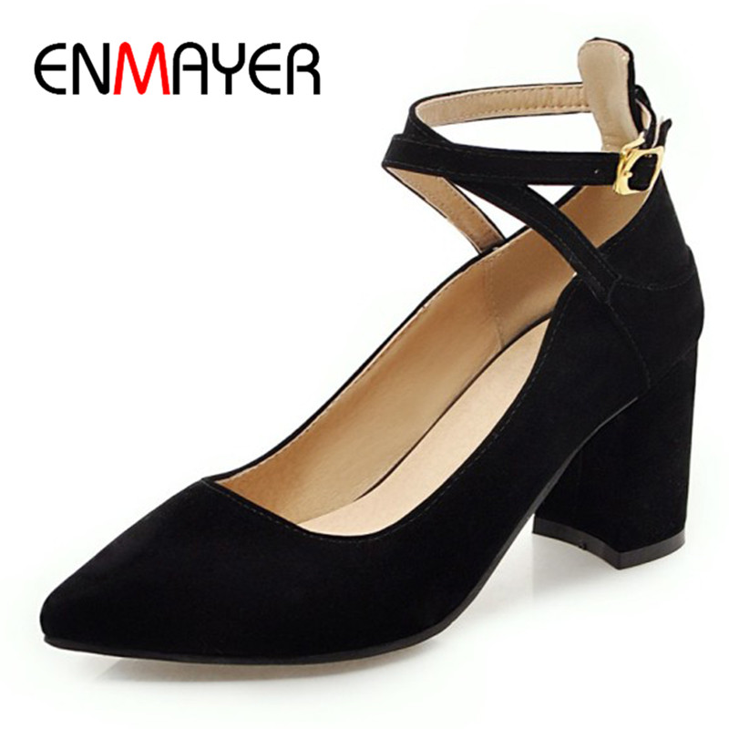 ENMAYER High Heels Pumps Shoes Cross-tied Classic Black Shoe Plus Size 34-43 Pointed Toe Ankle Strap Pumps Party Wedding Shoe enmayer high heels pointed toe spring