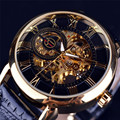Fabulous Luxury Mens Steampunk Skeleton Stainless Steel Automatic Mechanical Wrist Watch relojes wholesale No25
