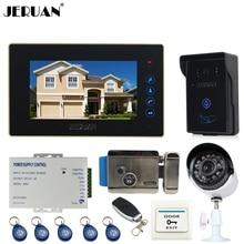 JERUAN 7 inch Video door Phone Entry intercom System kit waterproof RFID Access Camera +700TVL Analog Camera + E-lock In stock