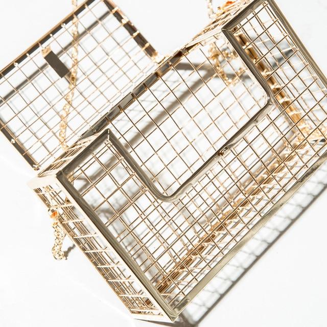 Unique fashion design personality hollow metal cages party clutch evening bag shoulder bag ladies handbag messenger bags purse